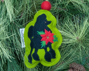 Poodle Christmas Ornament  and Poinsettia