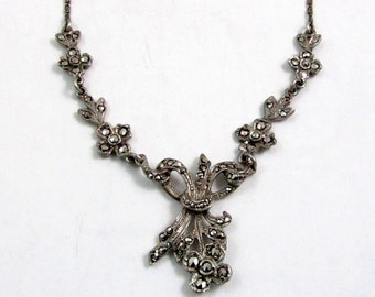 Art Deco Sterling Silver Marcasite Necklace, Choker
