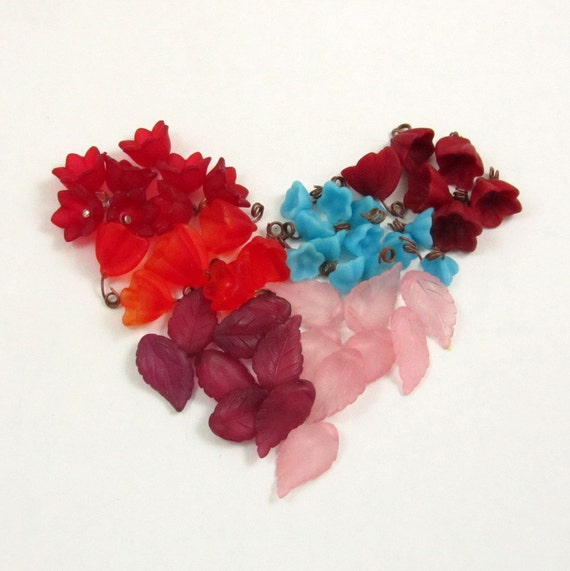 Vintage Assorted Wired Bell Flower Beads, Leaf Beads, Czech Glass, Acrylic