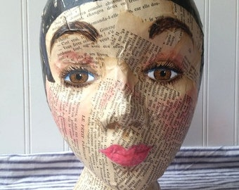 Mannequin Head mixed media Collage and handpainted Vintage French text Altered art Folk art black hair hat stand