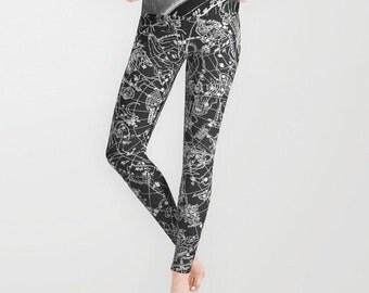 ZODIAC Map Leggings, Old Map Yoga Pants, Unique Fashion, Vintage Map Yoga Leggings,Women, Teen Active Wear, Running Pants,Jogging Pants,Surf