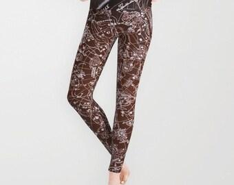 ZODIAC Map Leggings, Old Map Yoga Pants,Celestial Fashion,Vintage Map Yoga Leggings,Women,Teen Active Wear, Running Pants,Jogging Pants,Surf