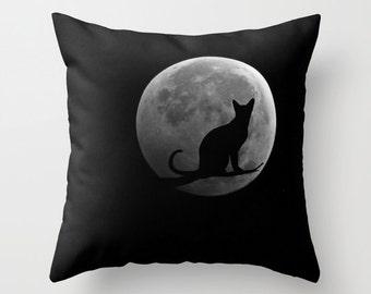 Cat and the MoonThrow Pillow, Black Pillow, Outdoor, Patio, Decorative Pillow, Cat Cushion,Wedding Gift, Moon Pillow, Surf, Full Moon Pillow