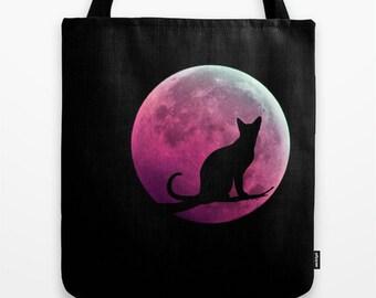 Cat and Full Moon Tote Bag, Black Pink Tote, Black Tote, Shopping Tote, Office Bag, Shoulder Bag, Beach Tote, Party, Halloween Bag, Magical