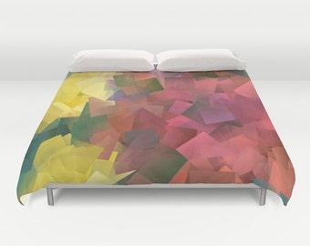 Color Block Duvet Cover, Made to Order, Colorblock Bedding, Multicolored Decorative Bedding, Contemporary Bedding,Dorm Bedding, Trend, Vivid