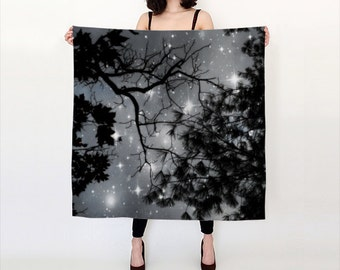 Starry Night Silk Scarf, Black White Silk Scarf, Wearable Art, Night Sky, Fashion, Accessories, Square Scarf, Women, Elegant, Nature, Noir