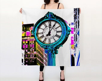 Fifth Avenue Clock Silk Scarf, POP Art Silk Scarf, Wearable Art, Trendy, Fashion, Accessories, Square Scarf, Women, Elegant, Trend, Office