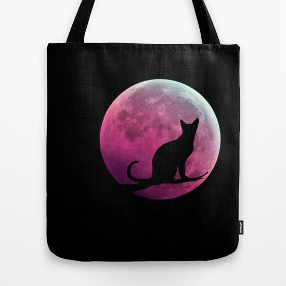 Cat and Full Moon Tote Bag, Black Pink Tote, Black Tote, Shopping Tote, Office Bag, Shoulder Bag, Beach Tote, Party, Halloween Bag, Magical