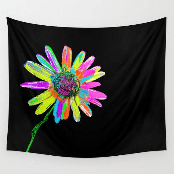 HIPSTER Wall Tapestry, Daisy Large Flower Wall Art, Flower Tapestry, Neon Colors Tapestry, Modern,Nature, Abstract Decor, Contemporary, Dorm
