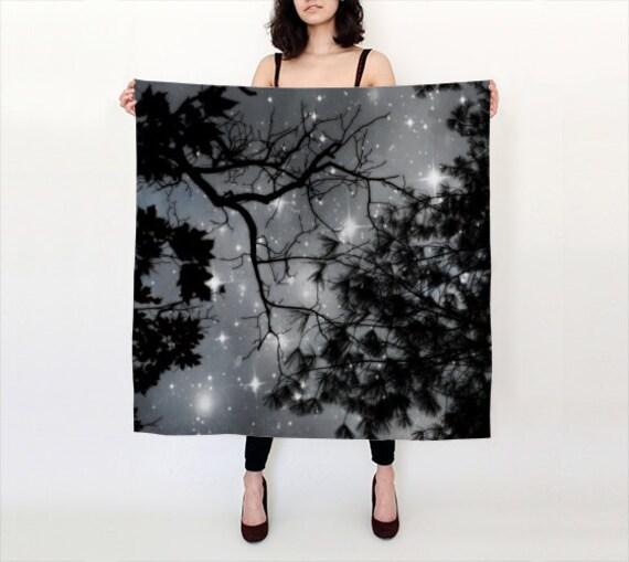 Starry Night Silk Scarf, Black White Silk Scarf, Wearable Art, Night Sky, Fashion, Accessories, Square Scarf, Women, Elegant, Nature, Noir