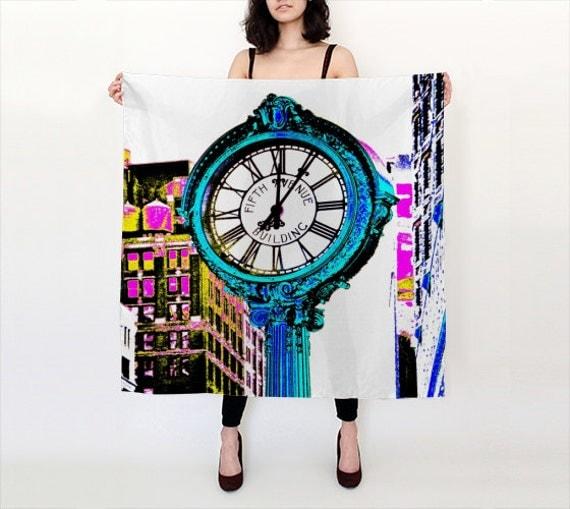 Fifth Avenue Clock Silk Scarf, POP Art Silk Scarf, Wearable Art, Trendy, Fashion, Accessories, Square Scarf, Women, Elegant, Trend, Office
