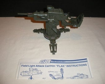 Vintage GI JOE Field Light Attack Cannon FLAK with Instructions 100% Complete Classic Retro 1980's Toys