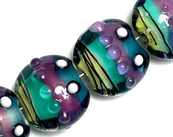 NEW! 11008712 Four Begonia Stripes Lentil Beads - Handmade Glass Lampwork Beads