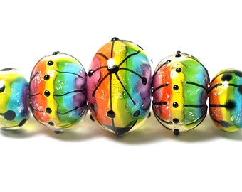 Glass Lampwork Beads -11008211 Five Rainbow Balloons Graduated Rondelle Beads