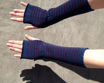 Arm Warmers Fingerless Gloves Striped Mittens Mitaines Mitones Merino Mohair Armstulpen Wrist Warmers Arm Sleeves