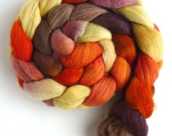 Corriedale Wool Roving - Hand Painted Spinning or Felting Fiber, Fall Sunshine