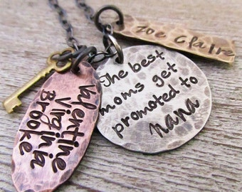 Nana Necklace - The best moms get promoted - Grandma Jewelry - Personalized Necklace