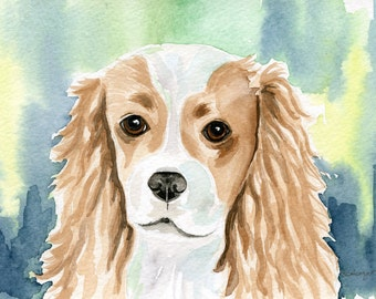 King Charles Cavalier Dog Watercolor Painting, Children's Art Painting of a King Charles Cavalier dog, Size 5 x 7, Dog Art, Dog Lover Gift