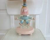 Vintage Child Nursery Lamp Humpty Dumpty Blue Pink Wood Irmis Gender Neutral Baby Lighting