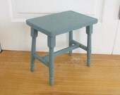 Vintage Wood Stool Blue Bench Primitive Rustic