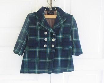 Vintage Boy Jacket Coat Wool Clothes Blue Green Plaid Size 3T 4T