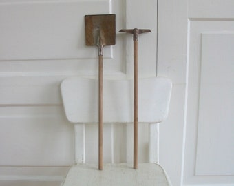 Vintage Child Garden Tools Metal Toy Wood Industrial Shovel
