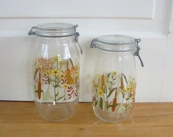 Vintage Glass Jars, Mid Century Jars, Canister Jars, Glass Jars, Flowers Wheat, 2 Liters Canister Set, French Jars