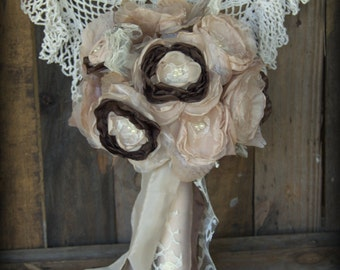 Bridal Bouquet, Vintage Bouquet, Boho Bouquet Champagne bouquet, Fabric bouquet , alternative bouquet,  wedding flowers