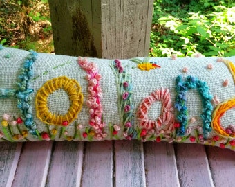 Freehand Embroidered Bohemian Letters Name Pillow Custom Made for SEVEN LETTERS