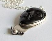Carved Horn Face Necklace - Portrait Necklace - Black Carved Horn Necklace - Statement Necklace