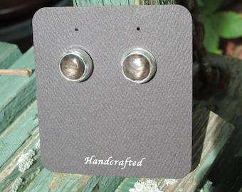 Sterling Silver Golden Sheen  Obsidian Stud Earrings