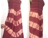 Boho Vintage Maxi Dress, Mauve Sleeveless Dress, Red Purple Tie Dye Dress, Bohemian Sequin Embroidered Dress, Tank Dress Hippie Dress XL L