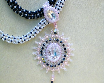 Multi Strand Statement  Crystal  and Pearls Necklace  Pink Black and White Jewelry  Romantic gift Timeless Classic