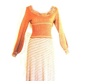 Glamour vintage 70s copper-silver metallic, lurex, acrylic, knit, maxi, stretched, disco dress. Made by Wenjilli. Size S-M.