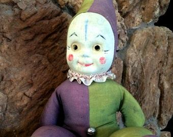 Vintage Light Up Eye Harlequin Clown Doll in Purple Green Large Stuffed Creepy Clown Light Sockets in Eyes and Battery In Bottom Halloween