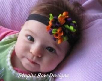 Fun Halloween Orange, Black, Bright Green and Purple Dainty Small Korker Hair Bow Black Headband 4 Baby Newborn Preemie Fall Cute