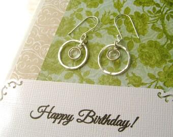 Swarovski Crystal Earrings POEM CARD BIRTHDAY Gift for Sister April Birthstone Friend Gift Sterling Silver Circle Earrings Add Her Name