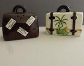 Vintage Ceramic Suitcase Salt and Pepper Shakers