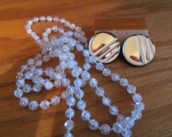 Clear Bead Necklace w/ earrings
