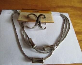 3 Strand Drape Necklace w/ earrings