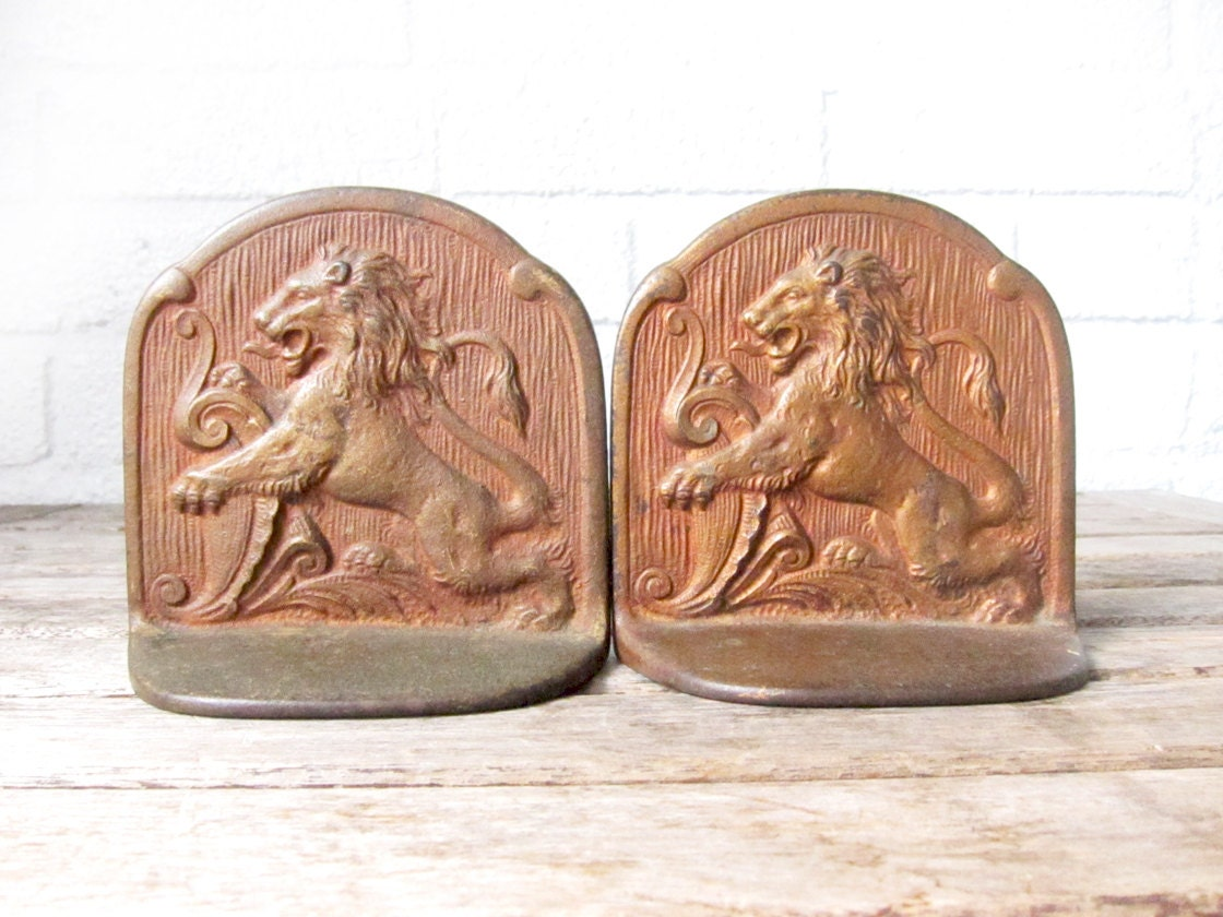 Vintage brass lion bookends set of matching brass lion book - Antique brass bookends ...