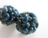 Vintage Buttons - Lot of 2 Mid Century Modern, dark blue, extruded noodle celluloid, novelty, 50's Retro, (sept 129)