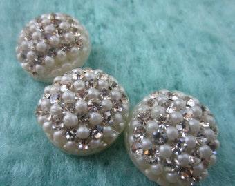 Vintage Buttons -3 matching beautiful acrylic off white, rhinestones 1950's  (lot set 37)