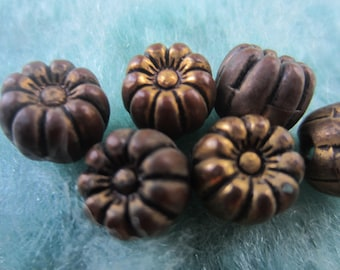Vintage Buttons - Lot of 6  tiny/ small matching, bronze metalized flower design, (sept 71)