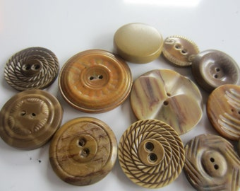 Vintage Buttons - brown wafer styles, assorted styles and sizes, celluloid and 3 Bakelite, lot of 12 (sept 182  )