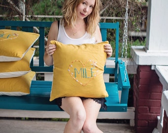 MILF Throw Pillow in Sunny Yellow