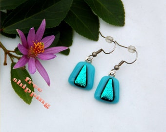 4 Blue triangles, fused dichroic glass earrings