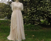 Custom Made Hippie Lace collage Gown one of a kind with sleeve