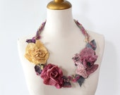 Felted  Statement  Flower Necklace  Golden, Aubergine and Mauve