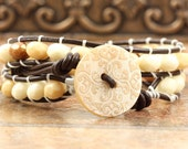 Cinnamon Wrap Bracelet Brown Leather Bracelet Bohemian Jewelry Cream Damask Bracelet Leather Jewelry Ivory Boho Jewelry Autumn Fashion